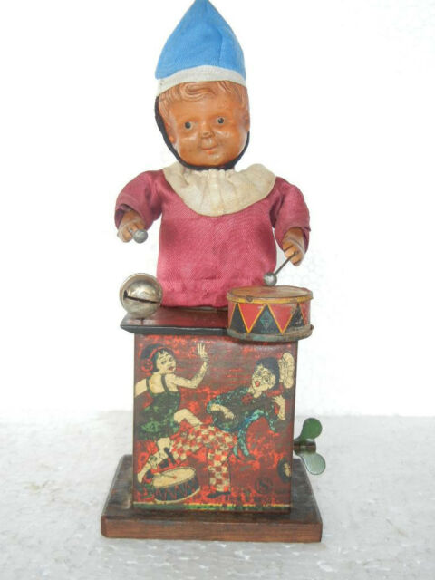 Vintage Windup Charlie Chaplin Mickey Drummer Boy Toy