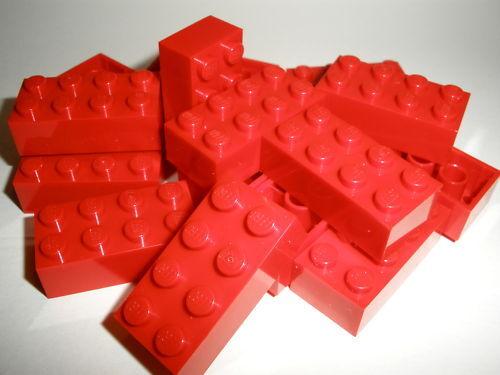 + + LEGO   15  rote  Bausteine  2x4  Noppen    NEU
