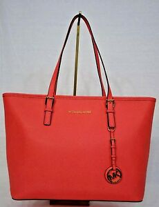 19f6d03a299f51 NWT! Michael Kors Jet Set Travel Top Zip Tote. Watermelon Pink ...
