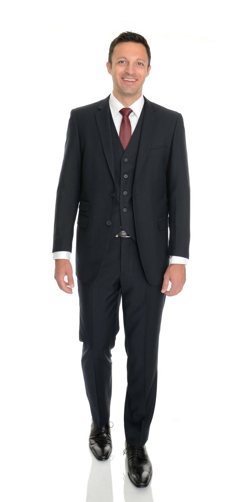 Emigre Slim Fit Solid Navy bluee Two Button Flat Front Suit 44XL 38W