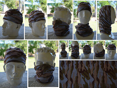 'CAMO' Head/Face/Mask/Neck Multi-wear tube Bandana/Durag.SPF5,Scarf/Wrap. 033