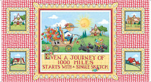 FABRIC-PANEL-Quilting-Treasures-MARY-039-S-JOURNEY-Mary-Engelbreit-24-034-X-45-034