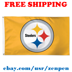 9a469272959 Deluxe Pittsburgh Steelers Team Logo Flag Banner 3x5 ft NFL Football ...