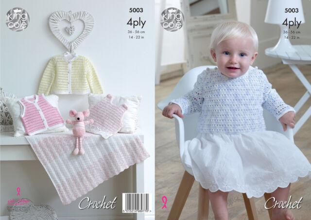 Baby Häkelmuster Kleid Pulli Strickjacke weste decke King Cole 4ply ...