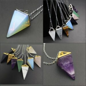 Natural-Amethyst-Gemstones-Pyramid-Pointed-Reiki-Chakra-Pendant-Silver-Necklace