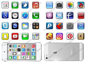 Iphone With 32 App Icons Edible Rice Paper Or Icing Birthday Cake Toppers Ebay