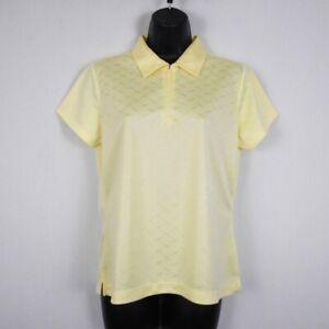 EP-Pro-Tour-Tek-Golf-Shirt-Womens-M-Yellow-Polyester-Solid-Short-Sleeve-Zip-New