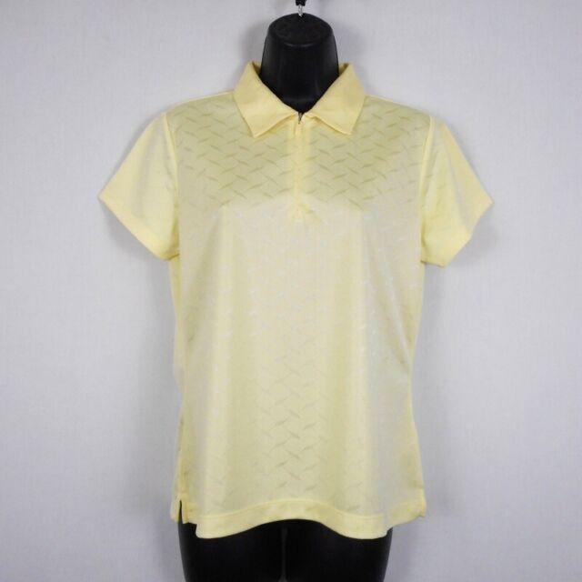 EP Pro Tour Tek Golf Shirt Womens M Yellow Polyester Solid Short Sleeve Zip New