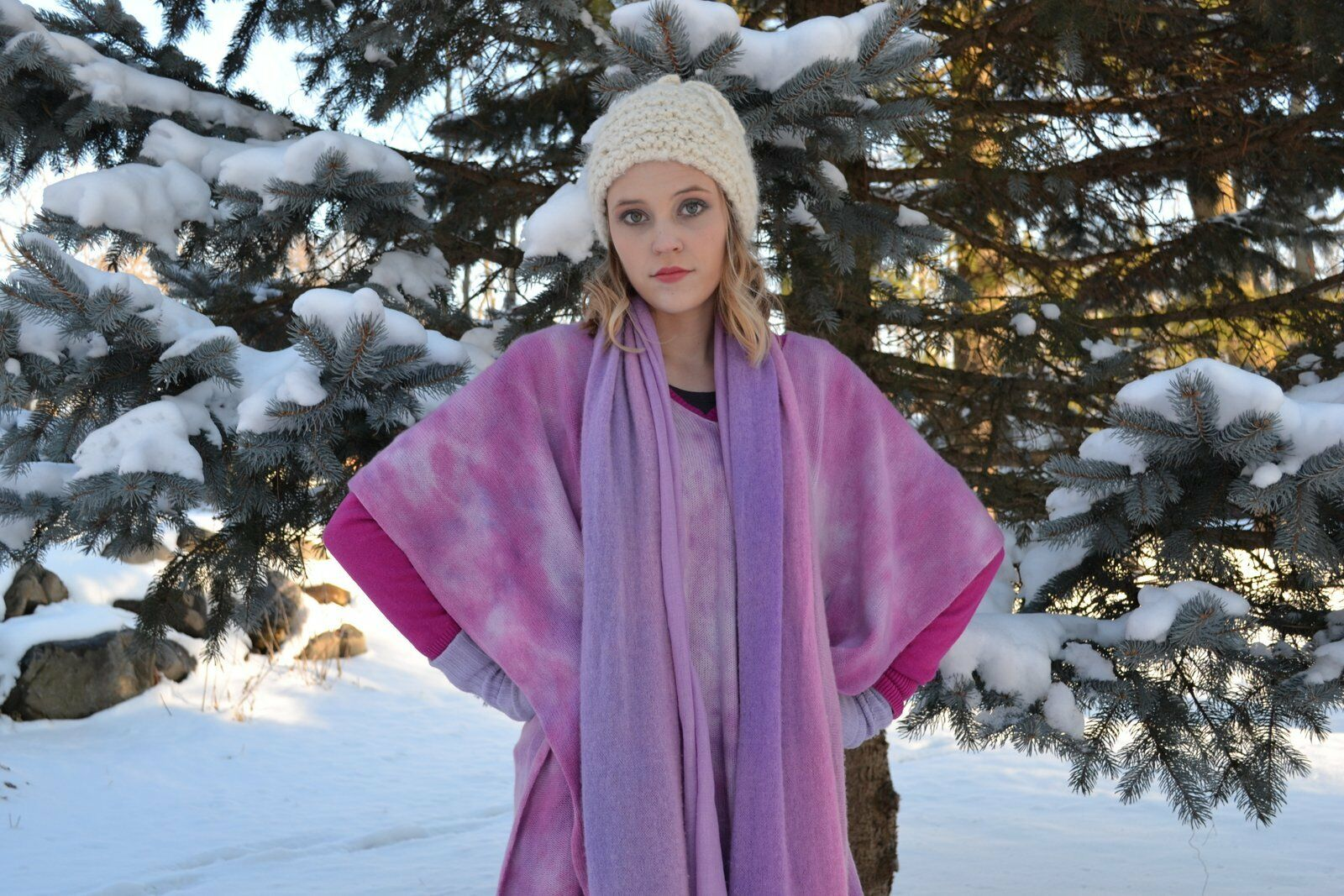 NEW Calypso St. St. St. Barth Pink bluee Purple Cashmere Caftan Poncho cape Sweater S M L 790205