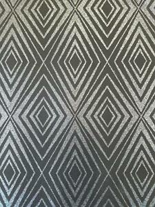 Diamond-Black-Silver-Geometric-Glitter-Wallpaper-Shimmer-Sparkle-Paste-Wall-P-S