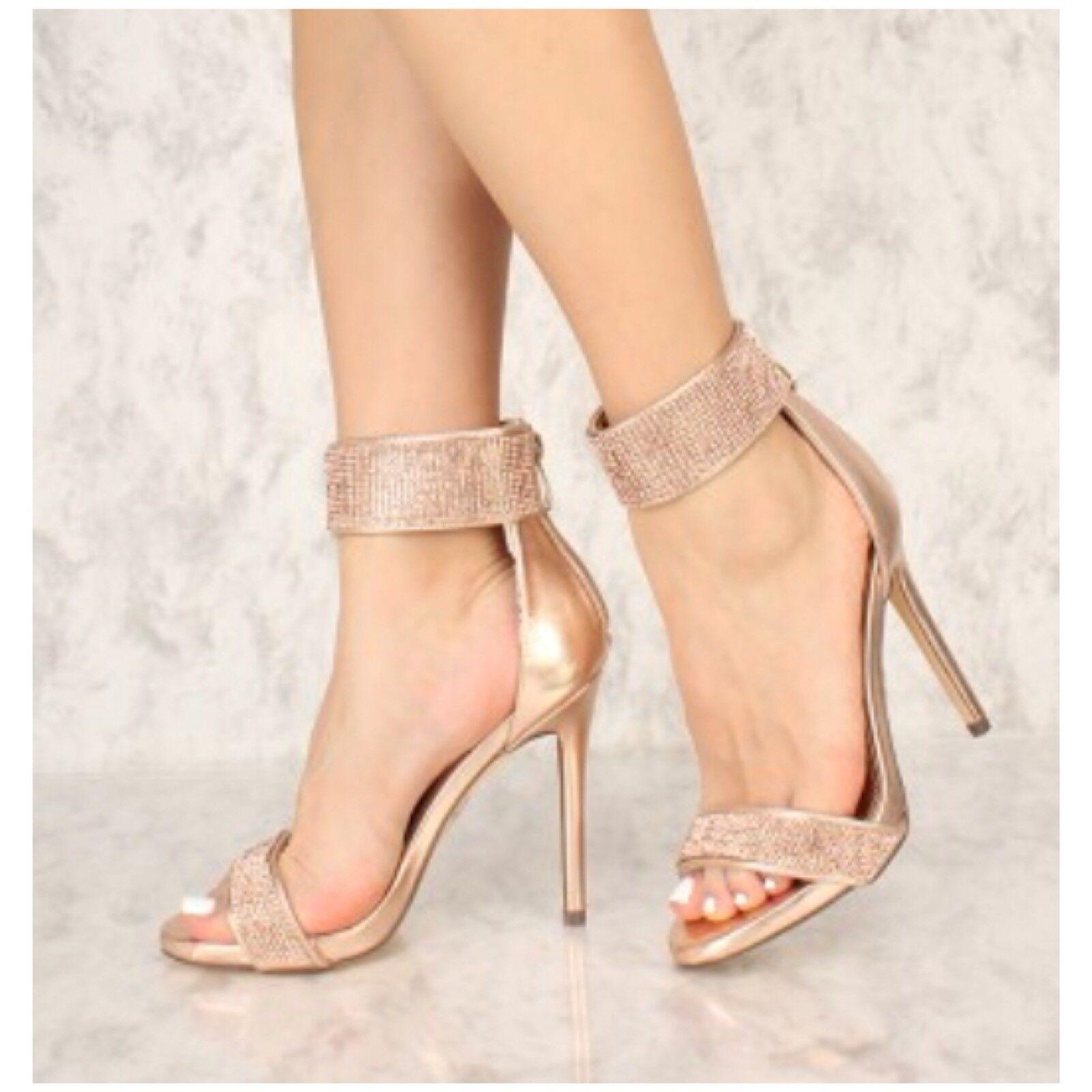 Liliana HOZZO-7 Rose Gold Open Toe Platform Ankle Strap Rhinestone Stiletto Heel