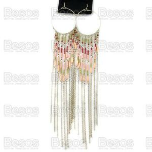 21cm-8-034-long-HOOP-fringe-chain-CHANDELIER-antique-gold-FASHION-EARRINGS-gift-bag