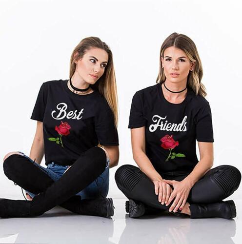 """Supprimes amies femmes Sister Paire T-Shirt Shirt dans le SET /""""Best Friends rose NEUF/"""""""