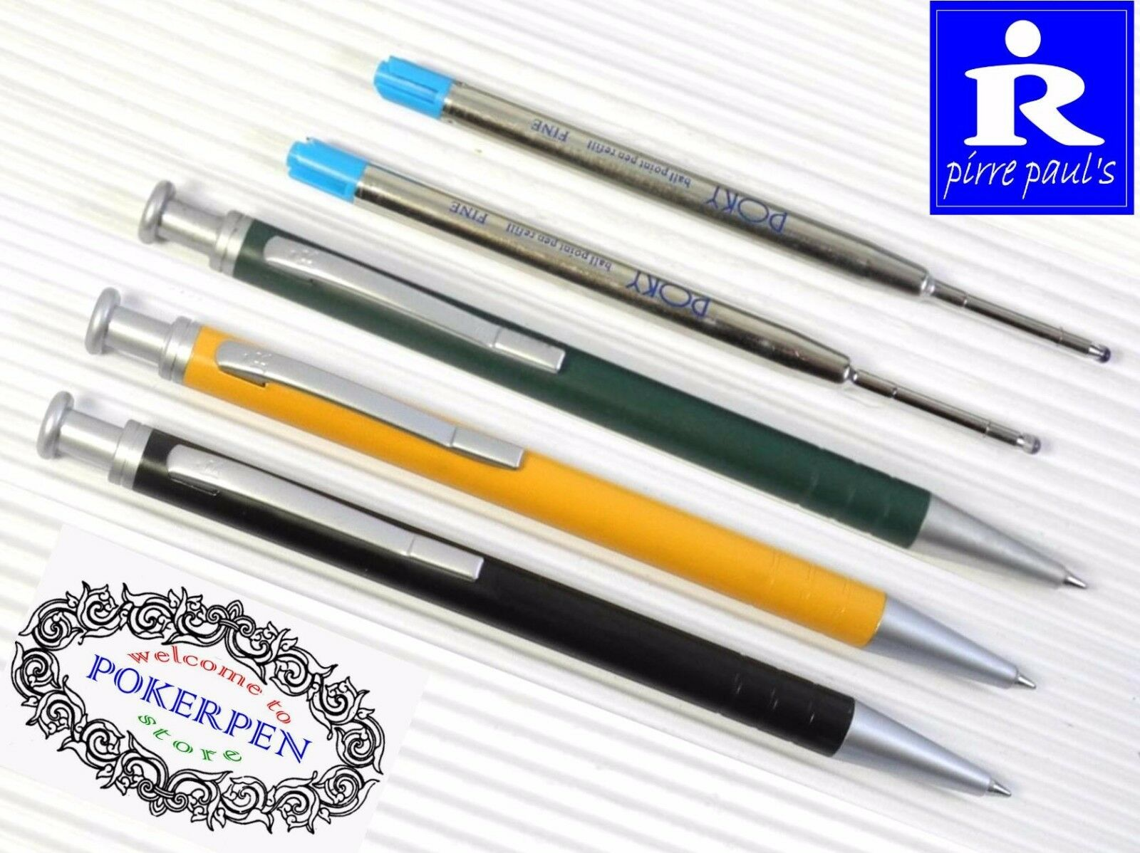 2 refills pirre paul/'s 320bc ball point pen Blue ink free ship 3 pens