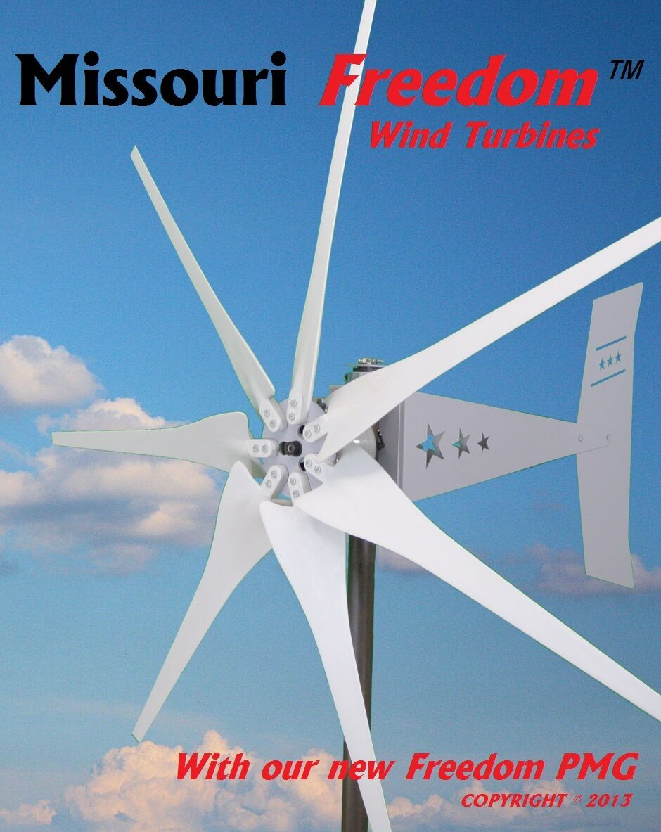 Missouri Freedom 48 volt 1700 watts max 7 blade wind turbine generator Non Cog