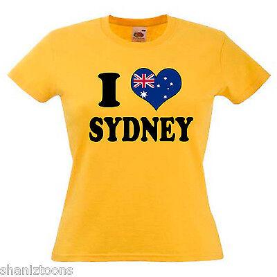 I Love Heart Bondi Australia Ladies Lady Fit T Shirt 13 Colours Size 6-16