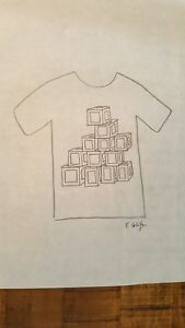 Bill-Schiffer-Design-Sketch-In-Pencil-T-Shirt-With-Blocks-SIGNED