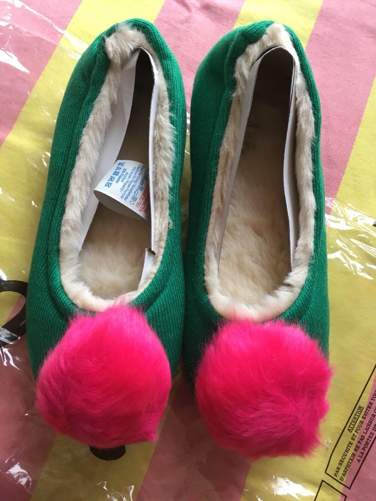 NEW Boden Knitted Pom Pom Slippers   - Eden Green - Size 38 / 5