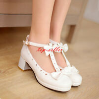 Womens Fashion Low Heels Comfort BOW-Tie Loafers Cute Sandals Shoes Plus Size