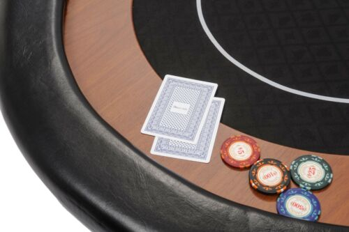 Champion Folding Poker Table Top in Black Suited Speed Cloth 153cm Leather Rest