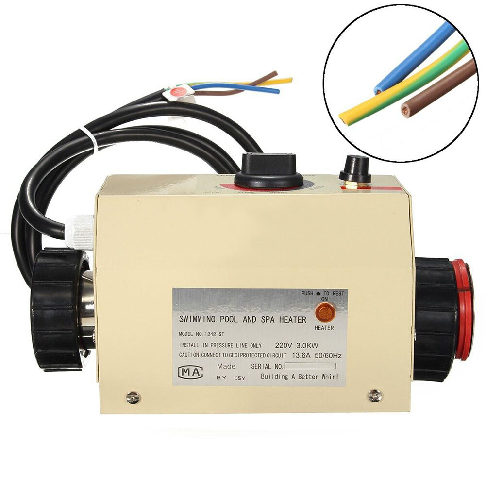 3KW 220V Swimming Pool Thermostat SPA Hot Tub Electric Bath Water Heater