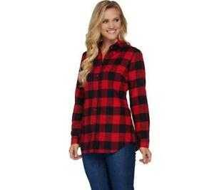 A284575-Denim-amp-Co-Plaid-Yarn-Dyed-Button-Front-Shirt-Red-Size-Small-S