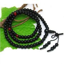 Tibetan 108 6*5 mm Black Agate Meditation Buddhist Prayer Beads Mala Necklace