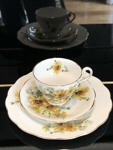 BROWN EYED SUSAN ROYAL STANDARD FINE BONE CHINA ENGLAND TEACUP SAUCER AND PLATE