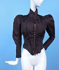 VICTORIAN 19TH C BODICE FOR DRESS W PUFF SLEEVES AND PLEATED FRONT