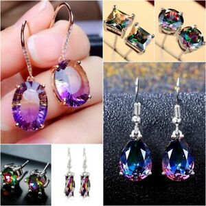 Women-925-Silver-Mystic-Rainbow-Topaz-Ear-Stud-Dangle-Earrings-Wedding-Jewelry