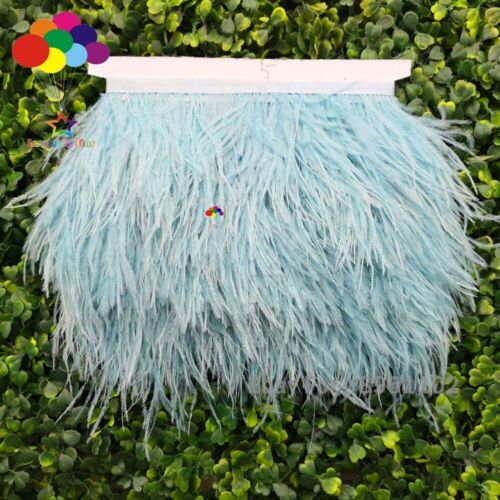 baby blue Teal ostrich feather trimming fringe on Satin Header in DIY width