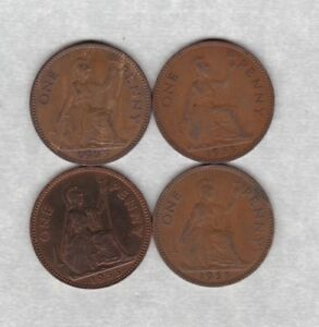 Details about FOUR KEY DATE 1953 ELIZABETH II PENNIES IN VERY FINE OR  BETTER CONDITION