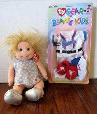 "TY Beanie Baby Kid ""Angel"" with Beanie Baby Baseball Outfit - NIB -"