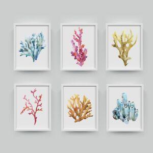 Corals Watercolor Cora Art Print Hanging Bathroom Canvas Painting Nautical Decor Ebay