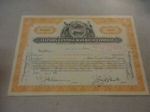 1954-Illinois-Central-Railroad-Company-Stock-Certificate-NC197273-100-Shares