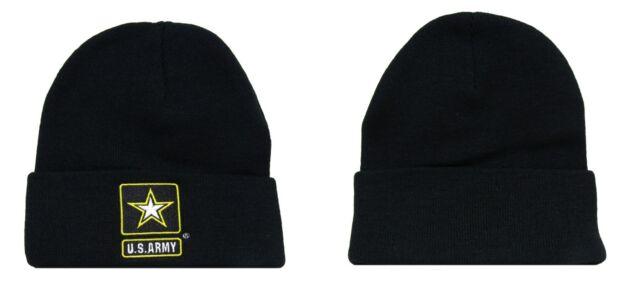 US ARMY STAR BEANIE CAP HAT BLACK NEW