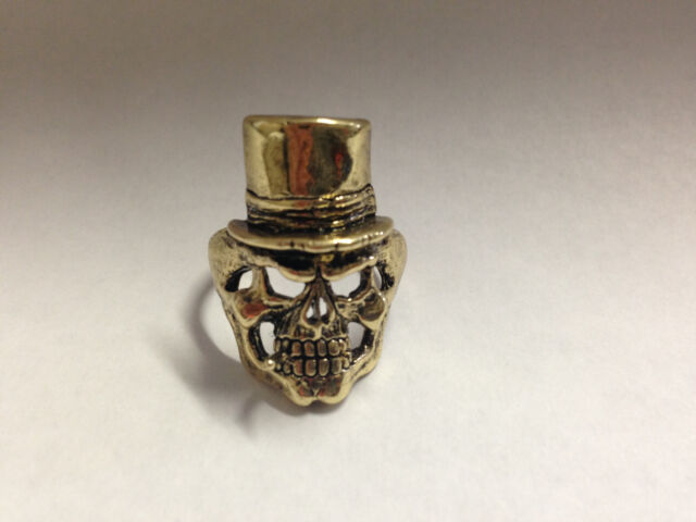 Skull and Top Hat Ring-Gold- Seen on Sons of Anarchy-Size-11