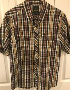 Prana-Mens-Short-Sleeve-Button-Down-Shirt-plaid-organic-cotton-Size-LRG-Large