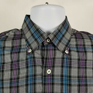 Peter-Millar-Mens-Black-Blue-Purple-Plaid-Check-Dress-Button-Shirt-Sz-Medium