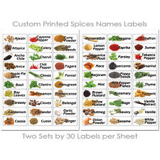 60 KITCHEN SPICES HERB JAR BOTTLES FOOD ILLUSTRATED PRINTED STICKERS LABELS