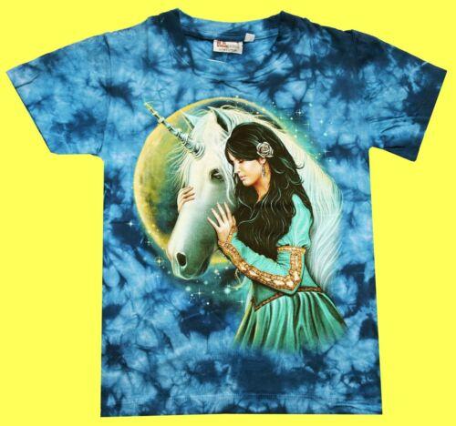 Kinder T-Shirt Frau+Einhorn Gr 116//122 98//104 134//140 Fantasy Mädchen Glitzer