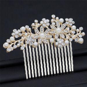 Bridal-Prom-Rose-Gold-Crystal-Diamante-Pearl-Hair-Comb-Clip-Slide-Fascinator-RF