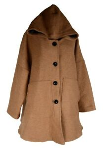 Details zu DAMEN WOLLE KAPUZE MANTEL JACKE TRENCH COAT BALLON WINTER ÜBERGANG L XL XXL 3XL