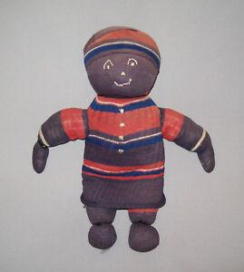 Old-Antique-Vtg-Ca-1900s-Hand-Made-Folk-Art-Cloth-Sock-Rag-Doll-10-5-034-Tall-Nice
