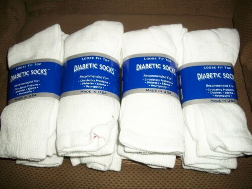 Size 10-13 12 Pair Diabetic Socks White New Free S//H