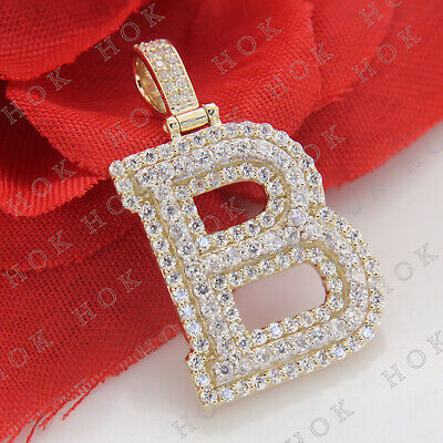 Mens 14K Yellow Gold Fn Drip Melt Initial B VVS1 Diamond Charm Pendant 2.00 CT