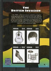 Grenade 2015 Neuf Sans Charnière British Invasion Europhilex London 4v M / S Mod Moptop Guitare-afficher Le Titre D'origine