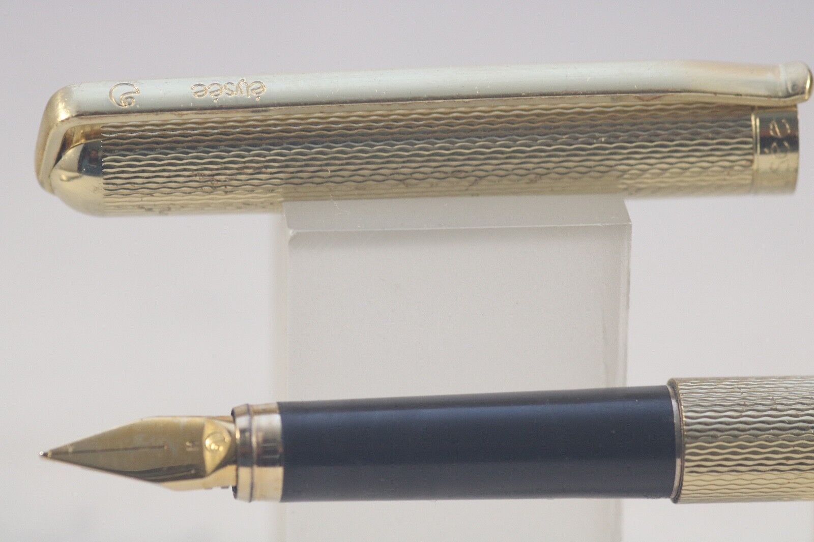Vintage Elysee Elysee Elysee No. 60 Barleycorn Or Plated Medium Fountain Pen d3efaa