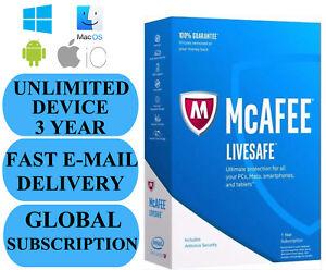 McAfee-LiveSafe-Unlimited-dispositivo-3-anno-abbonamento-2020-nessuna-Chiave-Codice