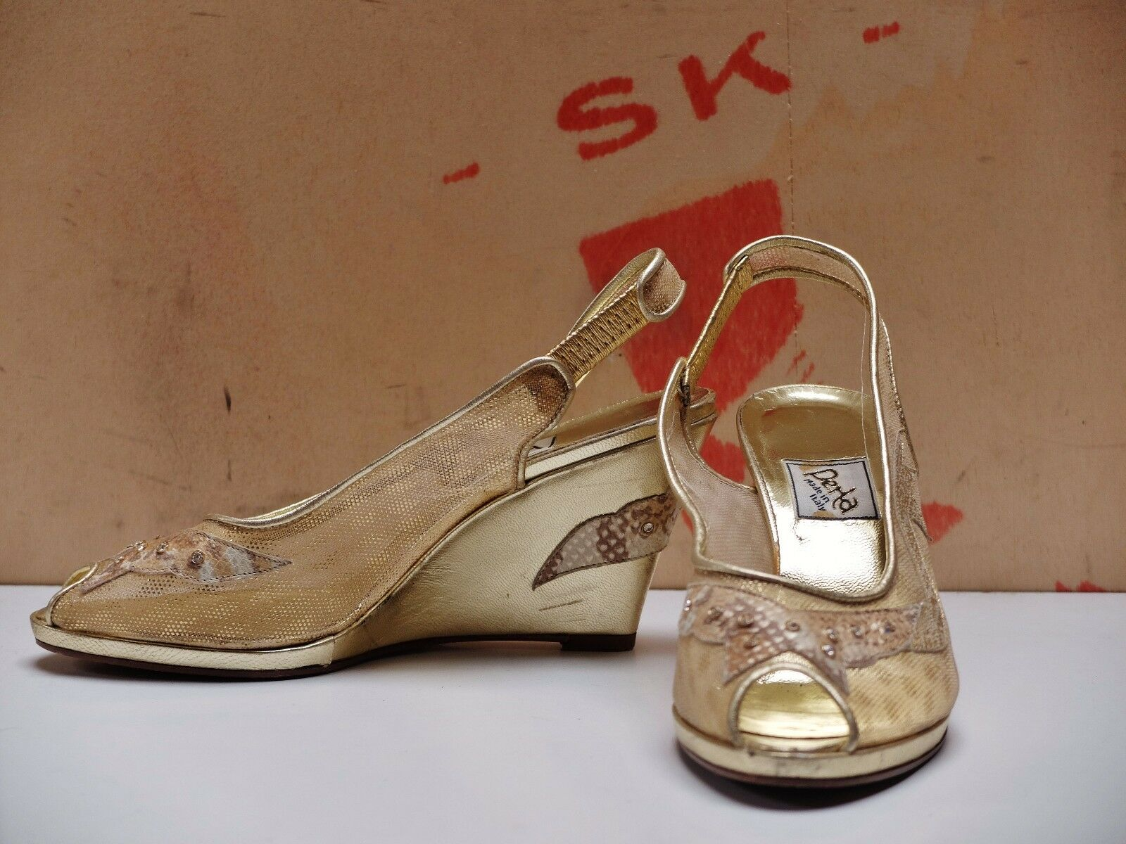 Perla Damen pumps Wedges Netz Sandalen Gr. 36 UK UK UK 3 peeptoes Gold TRUE VINTAGE 53e13d